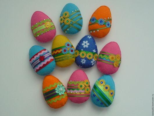 Яйца ручной работы. Ярмарка Мастеров - ручная работа. Купить Пасхальное яйцо. Handmade. Комбинированный, подарок, фетровое украшение