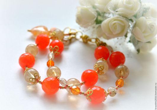 Браслеты ручной работы. Ярмарка Мастеров - ручная работа. Купить браслет яркий летний оранжевый блюз, на праздник и на каждый день. Handmade.