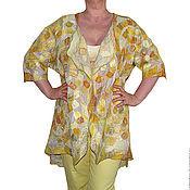 """Одежда ручной работы. Ярмарка Мастеров - ручная работа Кардиган накидка жакет валяный """"Янтарная мозаика"""". Handmade."""