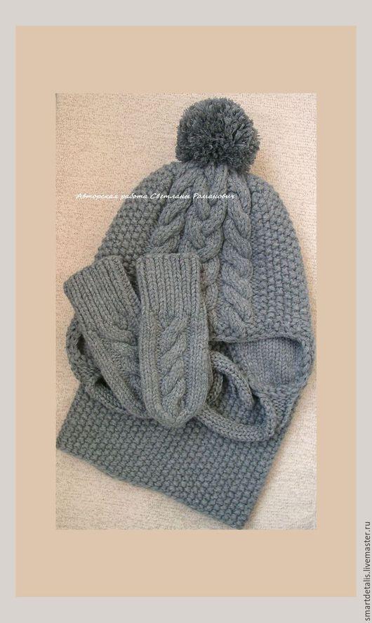 Шапки и шарфы ручной работы. Ярмарка Мастеров - ручная работа. Купить Детский шерстяной вязаный комплект для девочки. Handmade.