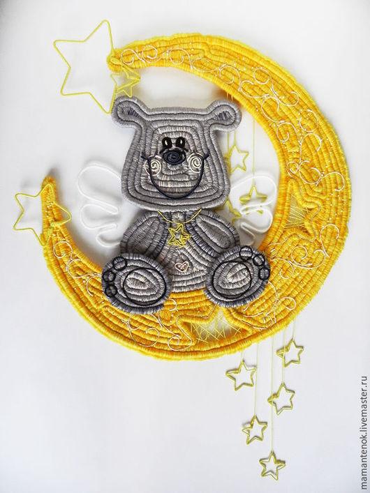 """Детская ручной работы. Ярмарка Мастеров - ручная работа. Купить панно """"Мишкины сны"""". Handmade. Желтый, декоративное панно, месяц"""