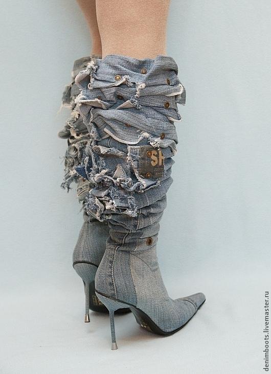 """Обувь ручной работы. Ярмарка Мастеров - ручная работа. Купить Ботфорты-трансформеры """"Лазурный берег"""". Handmade. Голубой, джинсовый стиль"""