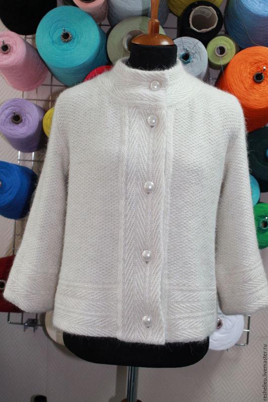 Верхняя одежда ручной работы. Ярмарка Мастеров - ручная работа. Купить Куртка вязаная с подкладом №24. Handmade. Белый