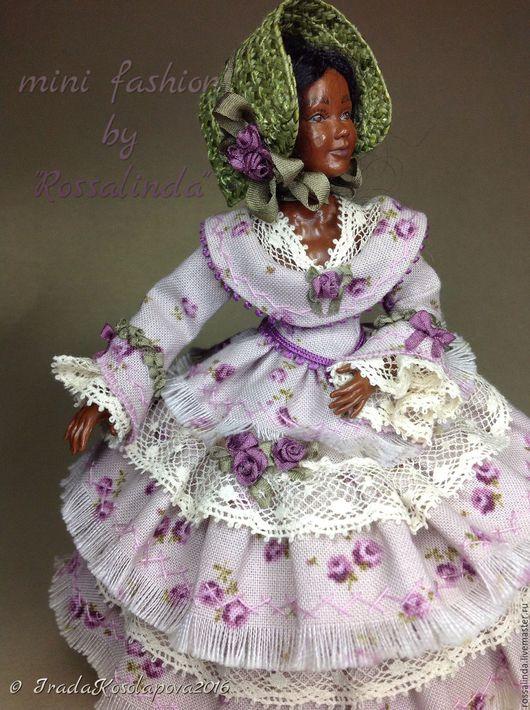 """Одежда для кукол ручной работы. Ярмарка Мастеров - ручная работа. Купить """"Лавандовая роза"""" наряд в духе 1860гг. Миниатюра 1:12. Handmade."""