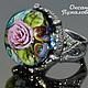 Кольцо женское `Роза`,  подарок на новый год, муранское стекло