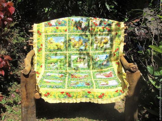 Детская ручной работы. Ярмарка Мастеров - ручная работа. Купить Лоскутное покрывало плед Разноцветный зайчик. Handmade. Одеяло, подарок