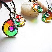 """Украшения handmade. Livemaster - original item Brass earrings """"Micro rainbow snails"""". Handmade."""