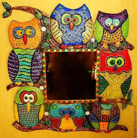 """Зеркала ручной работы. Ярмарка Мастеров - ручная работа. Купить Зеркало """"Семь на счастье"""".. Handmade. Разноцветный, дерево, пластика"""