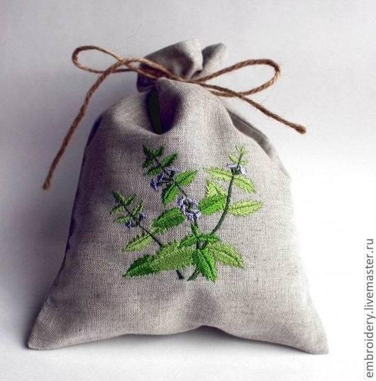"""Кухня ручной работы. Ярмарка Мастеров - ручная работа. Купить Льняной мешочек """"Базилик"""". Handmade. Ярко-зелёный, прованс"""