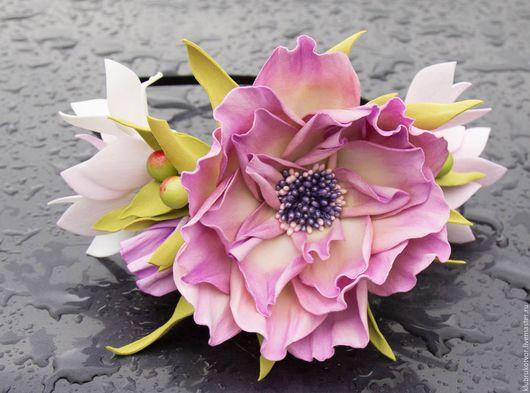 Диадемы, обручи ручной работы. Ярмарка Мастеров - ручная работа. Купить Ободок с цветами из фоамирана. Handmade. Комбинированный, ободок с цветами