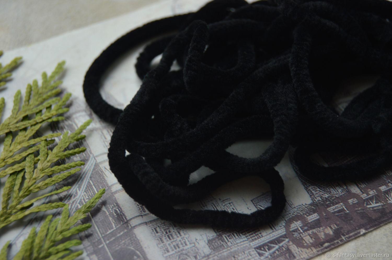Chenille 5 mm Black, Cords, Stavropol,  Фото №1