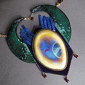 Украшения handmade. Livemaster - original item Necklace GUARDIAN of the SEA ceramics, velvet, sequins, garnet, cantel, beads. Handmade.