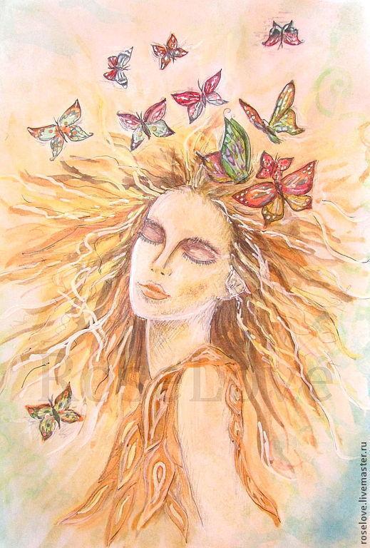 Авторская картина Бабочки...в моей голове`)Катерины Аксеновой.купить картину с бабочками,купить картину фэнтези,купить картину с девушкой,купить картину медитация