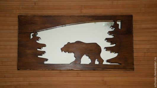 Зеркала ручной работы. Ярмарка Мастеров - ручная работа. Купить Прогулка медведя. Handmade. Коричневый, зеркало, панно настенное, дерево