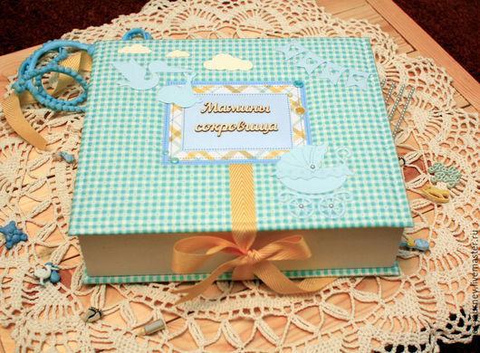 Подарки для новорожденных, ручной работы. Ярмарка Мастеров - ручная работа. Купить Шкатулка Мамины Сокровища для мальчика. Handmade. Тёмно-бирюзовый