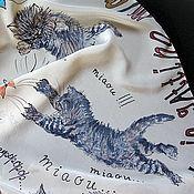 """Аксессуары ручной работы. Ярмарка Мастеров - ручная работа Шелковый шарф """"Котята"""" авторская ручная роспись на заказ батик белый. Handmade."""