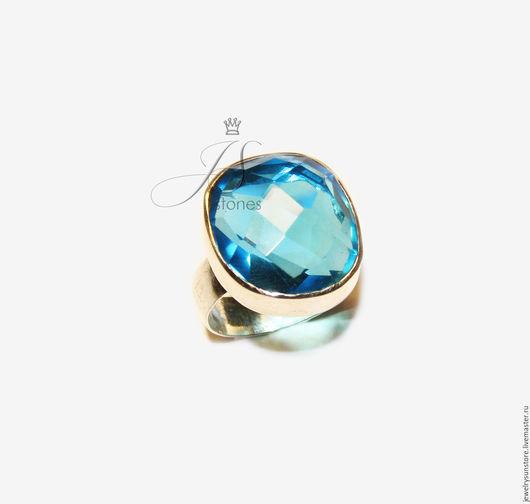 Кольца ручной работы. Ярмарка Мастеров - ручная работа. Купить Кольцо с Голубым топазом. Handmade. Голубой, кольцо с камнем