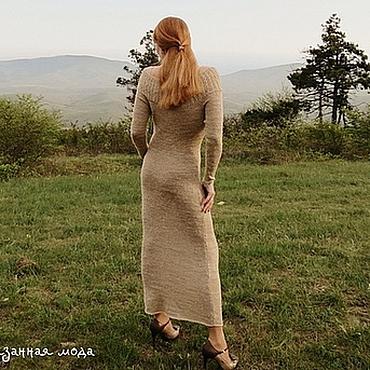 """Одежда ручной работы. Ярмарка Мастеров - ручная работа Вязаное длинное платье """" Какао с молоком"""". Handmade."""