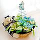 букет из детских вещей бэби-букет необычный подарок на крестины подарок на рождение малыша на день рождения для детей для мальчика корзина с детскими вещами голубой синий