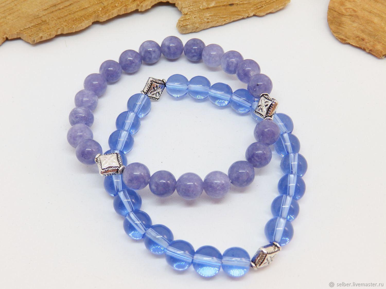 Set of bracelets Lilac haze (anhydrite and glass), Bracelet set, Gatchina,  Фото №1
