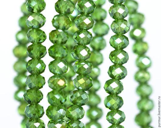 Для украшений ручной работы. Ярмарка Мастеров - ручная работа. Купить 1117_Граненые бусины 6 мм, Зеленые кристаллы, Стеклянные рондели.. Handmade.