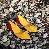 Обувь ручной работы handmade. Livemaster - original item ballet flats from python pointy toe yellow bordeaux. Handmade.