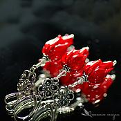 Украшения handmade. Livemaster - original item Set the Flame lampwork glass 925 silver red flowers scarlet. Handmade.