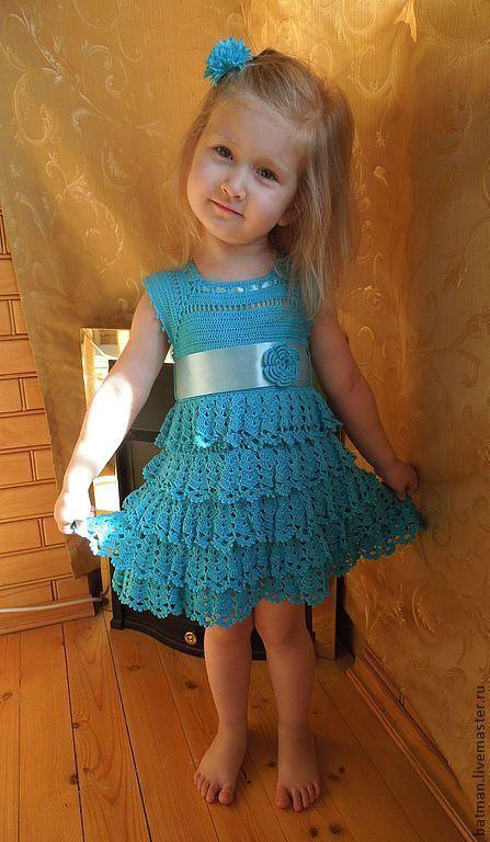 """Одежда для девочек, ручной работы. Ярмарка Мастеров - ручная работа. Купить Озорное платье """"Кокетка"""". Handmade. Однотонный, Вязание крючком"""