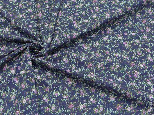 Шитье ручной работы. Ярмарка Мастеров - ручная работа. Купить ткань джинс синий  с цветами  002. Handmade. Синий, ткань