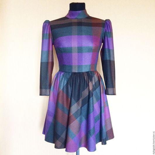 Платья ручной работы. Ярмарка Мастеров - ручная работа. Купить Платье в фиолетовую клетку. Handmade. Фиолетовый, Платье нарядное