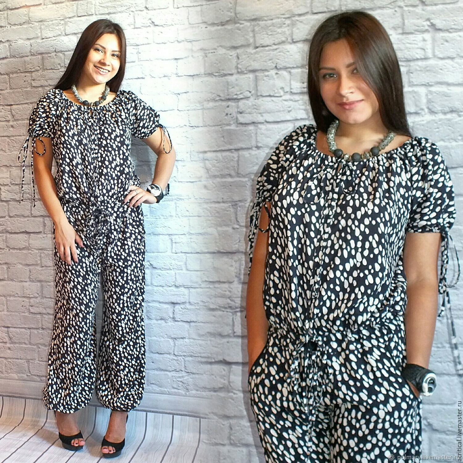 Summer jumpsuit made of cotton trousers or with shorts on the drawstring free, Jumpsuits & Rompers, Tashkent,  Фото №1