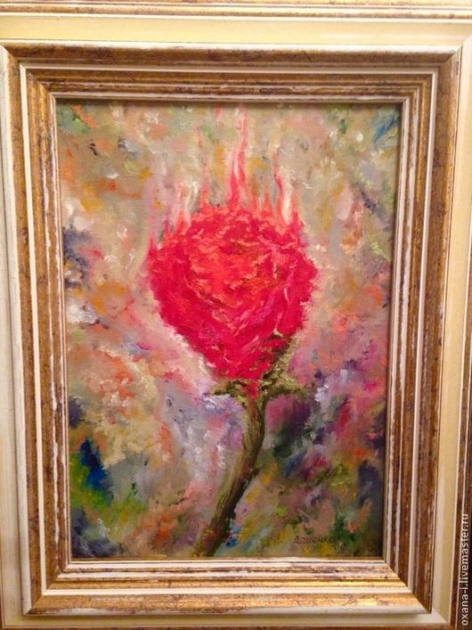 Абстракция ручной работы. Ярмарка Мастеров - ручная работа. Купить Горящий цветок. Handmade. Ярко-красный, картина для интерьера