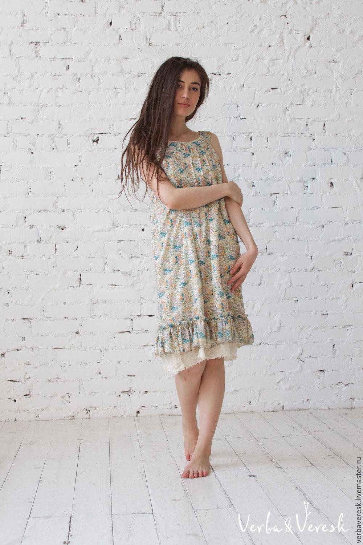36a37d53ce6 ручной работы. Ярмарка Мастеров - ручная работа. Купить легкое хлопковое  платье в цветочек- ...