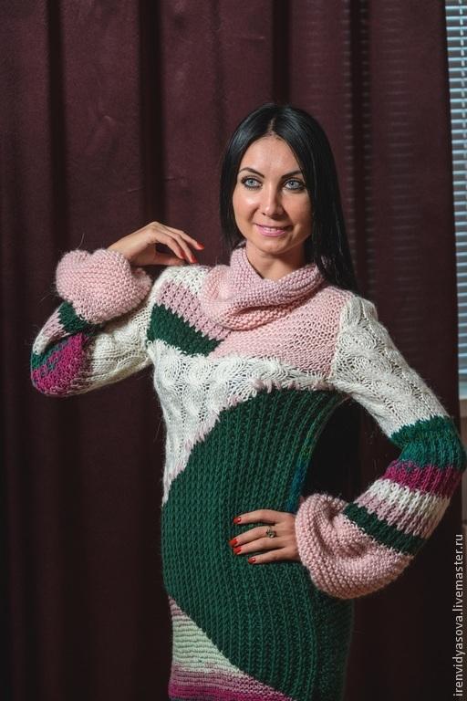 """Кофты и свитера ручной работы. Ярмарка Мастеров - ручная работа. Купить Удлиненный свитер-платье """"Баккара"""" продан. Handmade. Розовый"""