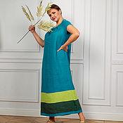 Одежда handmade. Livemaster - original item Author Linen dress in turquoise floor. Handmade.