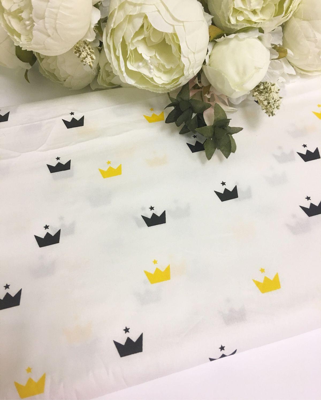 Ткань хлопок короны желто-черные, Ткани, Москва,  Фото №1