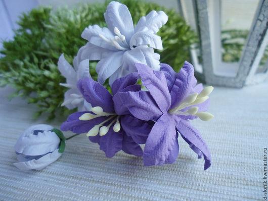 на фото: цветы из бумаги № 26(лиловый), № 22 (черника)