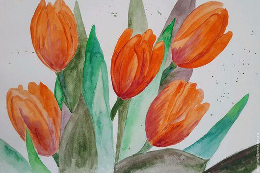 Картины цветов ручной работы. Ярмарка Мастеров - ручная работа. Купить Тюльпановое настроение. Handmade. Рыжий, оранжевый, букет