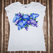Одежда handmade. Livemaster - original item T-shirt with a picture of lilac. Handmade.