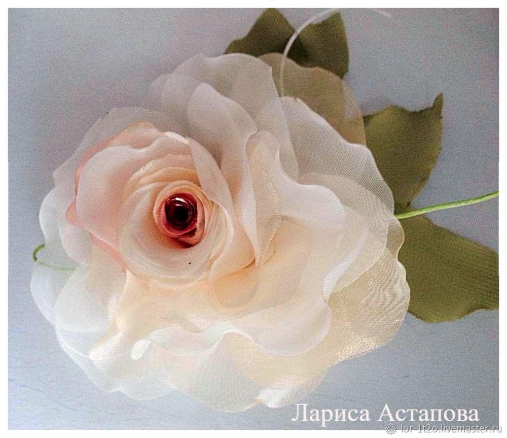 Комплекты украшений ручной работы. Ярмарка Мастеров - ручная работа. Купить Брошь заколка Шелковая роза белая. Handmade. Роза