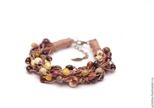 """Браслеты ручной работы. Ярмарка Мастеров - ручная работа. Купить Льняной браслет """"Мукаитовая гроздь"""". Handmade. Разноцветный, 100% лен"""