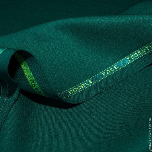Шитье ручной работы. Ярмарка Мастеров - ручная работа. Купить Шерсть костюмно-плательная Salvatore Ferragamo изумрудно-зеленый. Handmade.