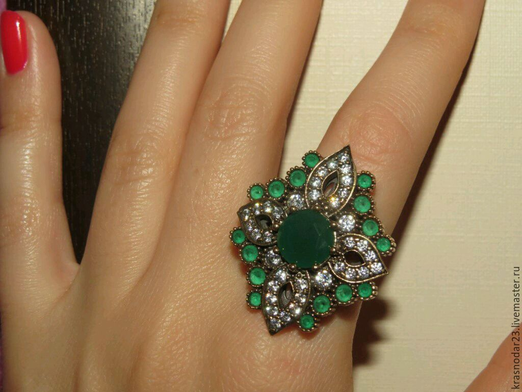 Ring 'Heavenly flower' made of silver with chrysoprase and zircons, Rings, Krasnodar,  Фото №1