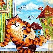 """Картины и панно ручной работы. Ярмарка Мастеров - ручная работа Картина """"Кот на подоконнике"""". Handmade."""