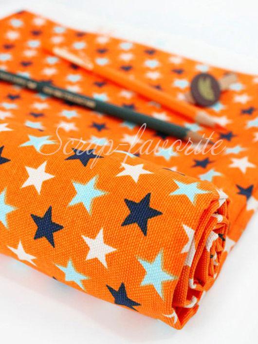 """Шитье ручной работы. Ярмарка Мастеров - ручная работа. Купить Хлопок """"Яркие звезды"""". Оранжевый фон. Handmade. Синий"""