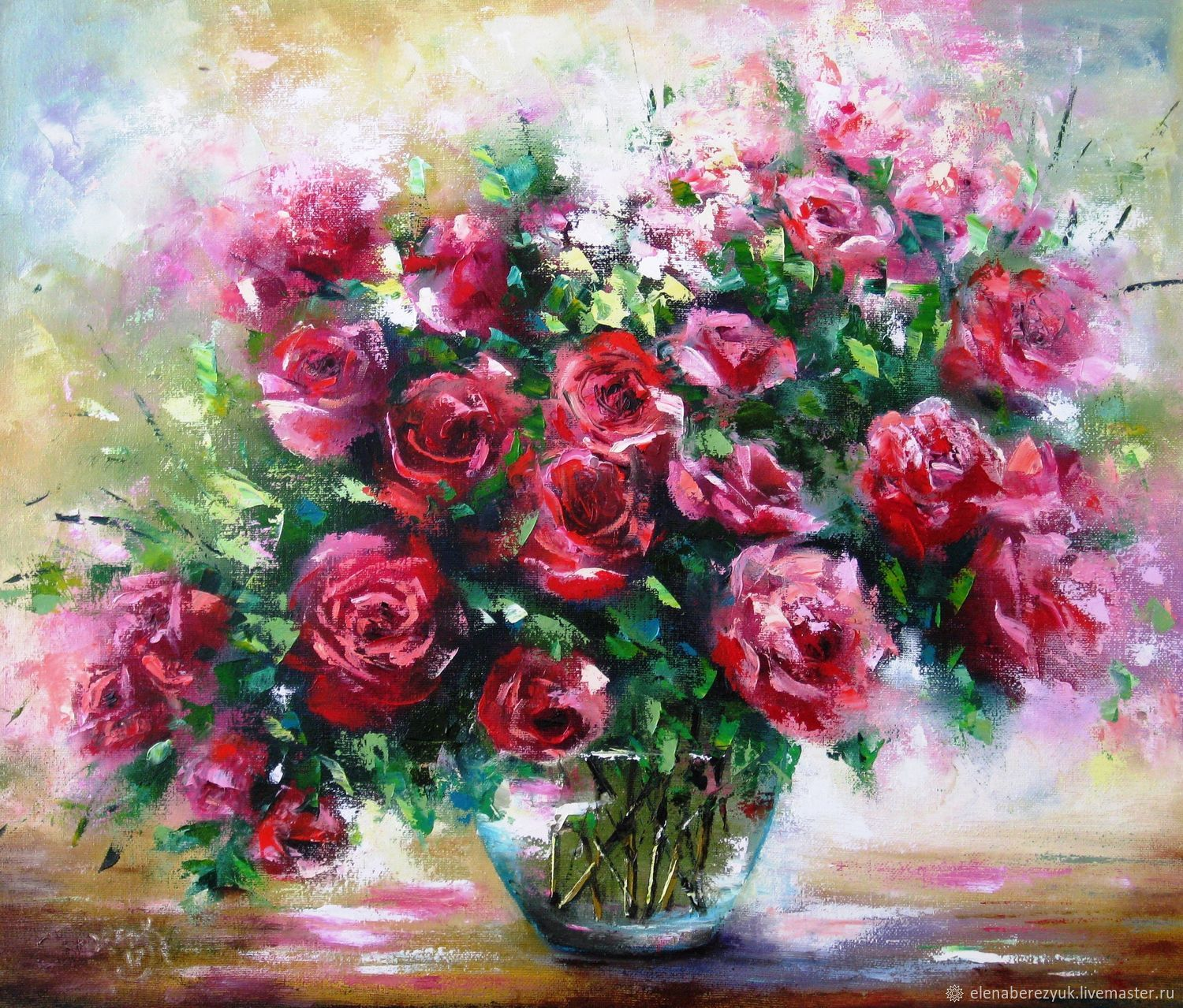 oil painting on canvas spring flowers bouquet of roses in a vase ...