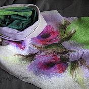 Аксессуары ручной работы. Ярмарка Мастеров - ручная работа Большой теплый красивый шерстяной валяный шарф палантин Эдем. Handmade.