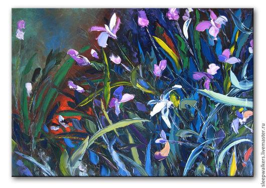 """Картины цветов ручной работы. Ярмарка Мастеров - ручная работа. Купить """"Розовые орхидеи"""" 100х70 см большая картина маслом мастихином цветы. Handmade."""