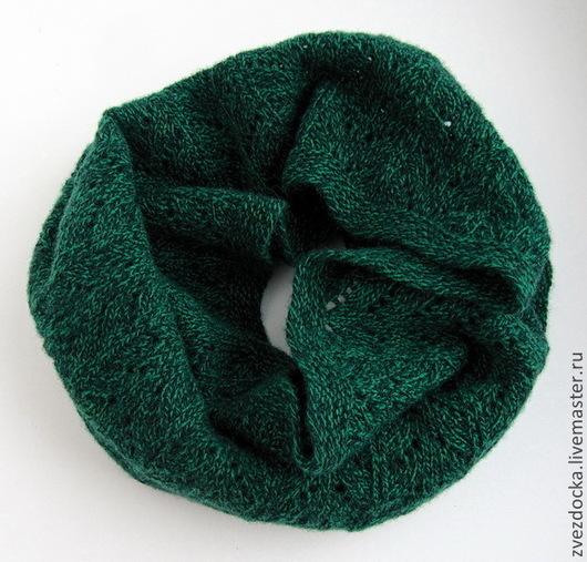 """Шарфы и шарфики ручной работы. Ярмарка Мастеров - ручная работа. Купить шарф - снуд """"Изумрудный меланж"""". Handmade. Зеленый, изумрудный"""