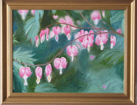 Картины цветов ручной работы. Ярмарка Мастеров - ручная работа. Купить Картина маслом Дицентра. Handmade. Картина, цветы, живопись.